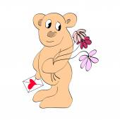 Bear with a card and flowers. — Stock Vector