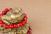 Beads jewelry and money frog. — Stockfoto