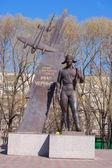 Monument to Ivan Chernih, Hero of the Soviet Union. Description on the monument - Hero of the Soviet Union Ivan Chernih — Stock Photo