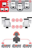 Logistics icons. Red-grey icons — Stock Vector