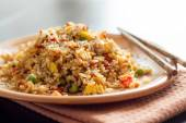 Fried Rice with Vegetables and fried eggs — Stock Photo