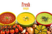 Three fresh soups and vegetables — Stock Photo