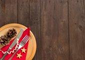 Festive table setting on wood — Stock Photo