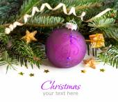 Purple and golden Christmas ornaments border — Stock Photo