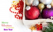 Wooden tray with Christmas decorations — Stockfoto