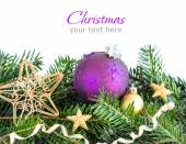 Golden and purple Christmas decor — Stock Photo