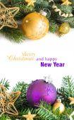Golden and purple Christmas decor — Stock Photo