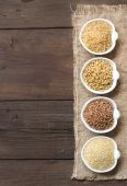 Cereals in bowls border — Stock Photo