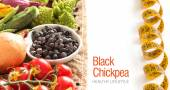 Black chickpea with vegetables — Stock Photo
