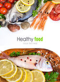 Fresh fish, seafood and vegetables — Stock Photo
