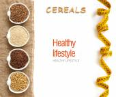 Cereals in bowls border with word Cereals — Stock Photo