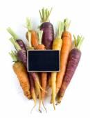 Fresh organic rainbow carrots — Stock Photo