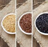 Коллаж различных риса в чаши — Стоковое фото