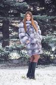 Winter Girl in Luxury Fur Coat — Stock Photo