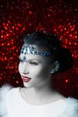 Girl with white leather adorned with rhinestones — Stock Photo