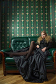 Beautiful blonde in a gothic gown. — Foto Stock