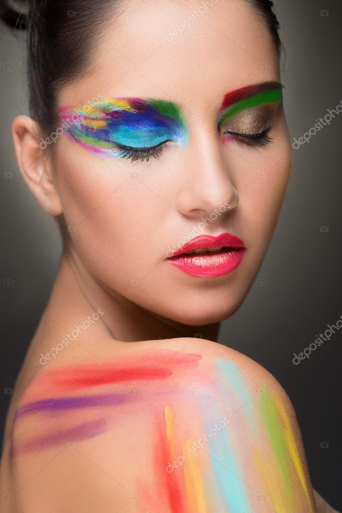 Beautiful Woman Make Up Colour Paint Painting Stock