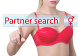 Woman pressing partner search button — Stock Photo