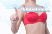 Woman pressing global sale button — Stock Photo