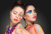 Girls. make-up colour paint painting, — Stock Photo
