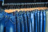 Blue jeans in a shop — Stock Photo