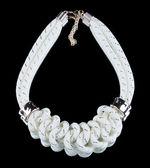 White Rope Necklace. on black background — Stock Photo
