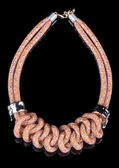 Brown Rope Necklace. on black background — Stock Photo