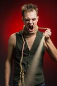 Angry man with a rope around his neck — Stock Photo