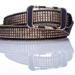 Black women style belt with metal rivets — Stock Photo #66923867
