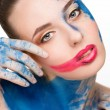 Beautiful woman. make-up colour paint painting, — Stock Photo #67518225