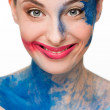 Beautiful woman. make-up colour paint painting, — Stock Photo #67518247