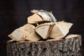 Fire wood Renewable resource of a energy. — Stock Photo