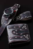 Accessory kit. biker watch, wallet and key ring. — Stock Photo