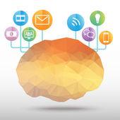 Vettore di poligono del cervello — Vettoriale Stock