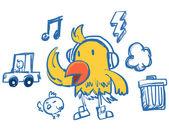 Pájaro curioso estilo hip-hop amarillo — Vector de stock