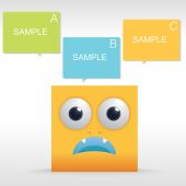 Funny character of yellow box. Vector illustration. — Stock Vector