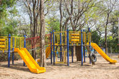 Children's playground at public park — Stock Photo