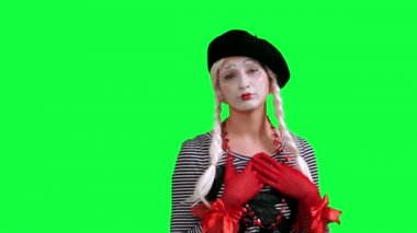 The girl mime flirting funny — 图库视频影像