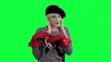 The girl mime flirting funny — Stock Video