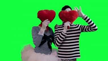 The couple of mimes in love — Stock Video