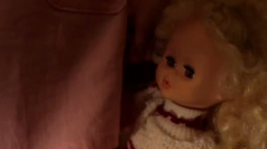 Doll in a girl's hands closeup — Stock Video