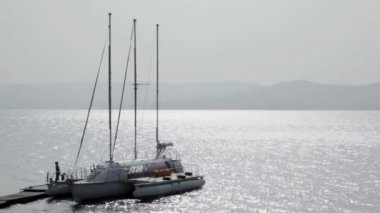 Yacht is berthed — Stock Video