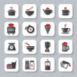 White flat cooking and food icons — Stock Vector #53078285