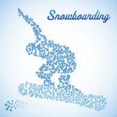 Abstract snowboarder in jump — Vector de stock