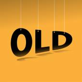 Hanging word old poster — Stock Vector