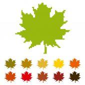 Pixel maple leaf — Stock Vector