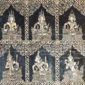 Texture of Thai art granite stone carving in public temple at Ba — Stock Photo
