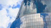 Window reflection dayligh as blue background — Stock Photo
