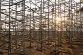 Steel scaffolding set up for temporary stadium in Phuket, Thaila — Stock Photo