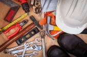 Closeup of assorted work tools on wood — Stock Photo